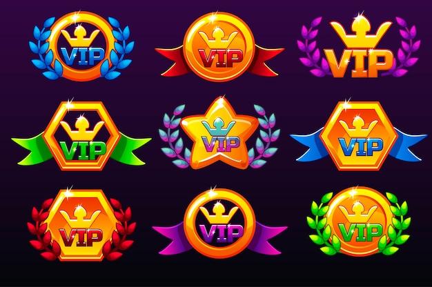 Gekleurde sjablonen vip-pictogrammen voor prijzen, pictogrammen voor mobiele games maken.