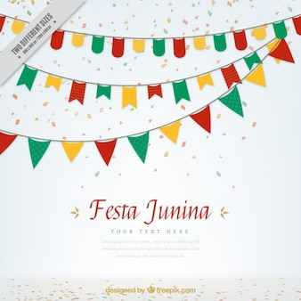 Gekleurde slingers en confetti festa junina achtergrond