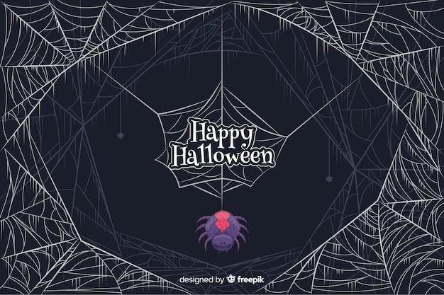 Gekleurde spin met spinnewebben halloween achtergrond