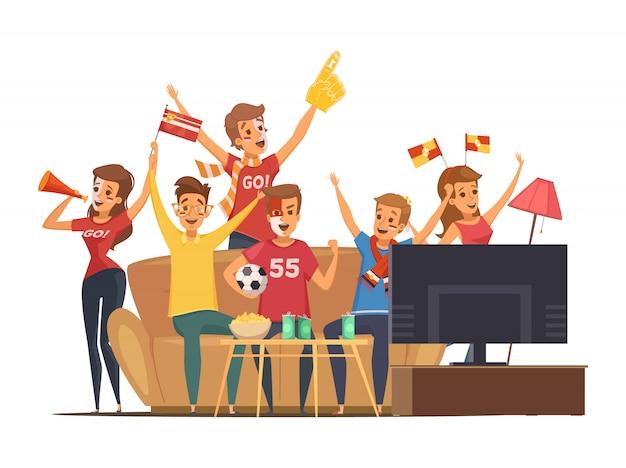Gekleurde sportfans die tv op de mensen van de laagsamenstelling met vlaggen kijken maken omhoog