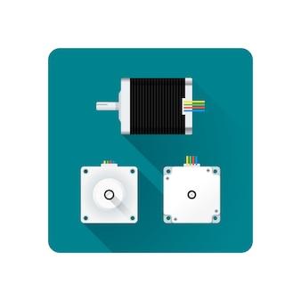 Gekleurde stappenmotor elektrische motor verschillende hoeken illustratie pictogram lange schaduw afgeronde vierkante achtergrond