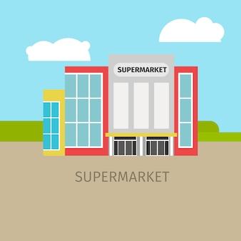 Gekleurde supermarkt gebouw illustratie