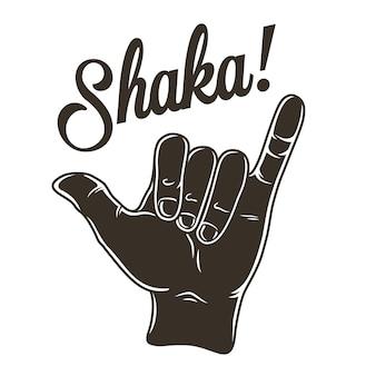 Gekleurde surfafdruk van de hand die surfergebaar shaka laat zien. vector illustratie hawaii zomer t-shirt design