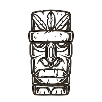 Gekleurde surfprint van stenen tiki-masker, gezichtsidool. vector illustratie hawaii zomer t-shirt design
