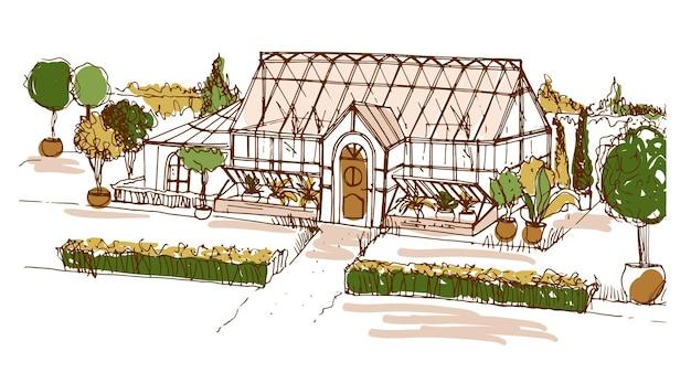 Gekleurde tekening uit de vrije hand van een kas of gebouw omringd door struiken en bomen die in potten groeien.