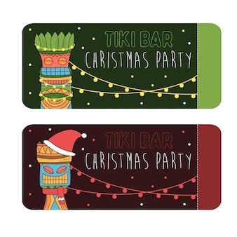 Gekleurde tiki-idolen voor het ontwerp van uitnodigingskaarten voor kerstfeest of posters.