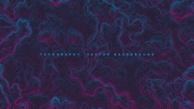 Gekleurde topografische contourkaart retrowave abstracte achtergrond