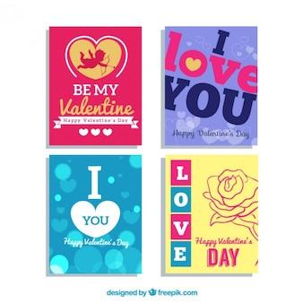Gekleurde valentijnsdag kaarten pak