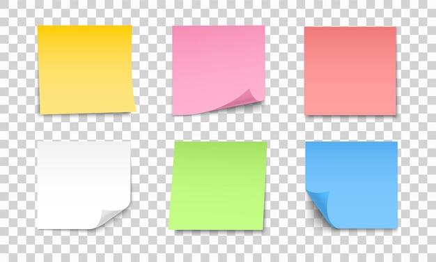 Gekleurde vellen notitieblaadjes ingesteld. verzameling van plaknotities met krul en schaduw. realistische papieren stickers voor uw bericht.