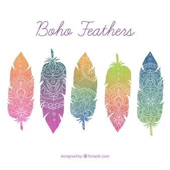 Gekleurde veren met de hand getekende ornamenten in boho stijl
