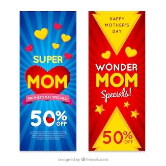 Gekleurde verkoop banners met decoratieve harten voor moederdag