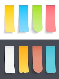 Gekleurde verticale plaknotities ingesteld