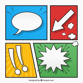 Gekleurde vignetten set met tekenen en komische speech bubble