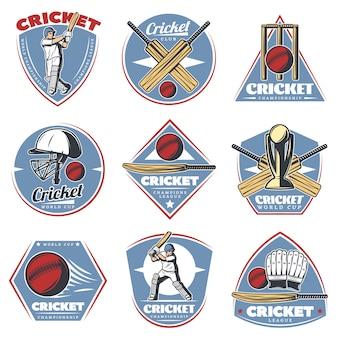 Gekleurde vintage cricket-logo's set