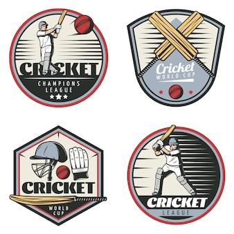 Gekleurde vintage cricket sport emblemen set