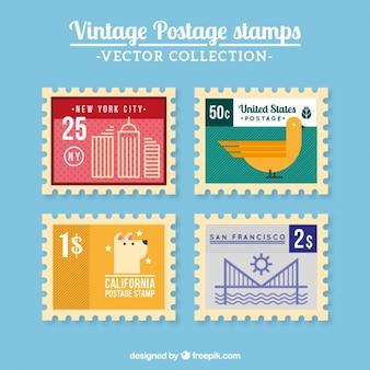 Gekleurde vintage post zegels