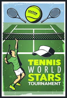 Gekleurde vintage tennis championship poster