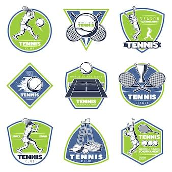 Gekleurde vintage tennis emblemen instellen