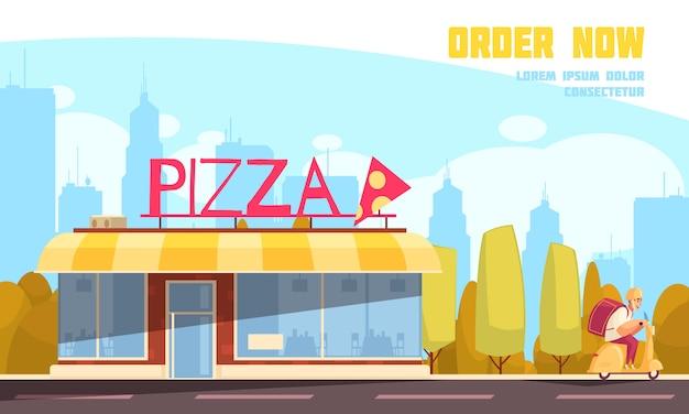 Gekleurde vlakke pizzeria openluchtsamenstelling met orde nu krantekop en de vectorillustratie van de pizzawinkel