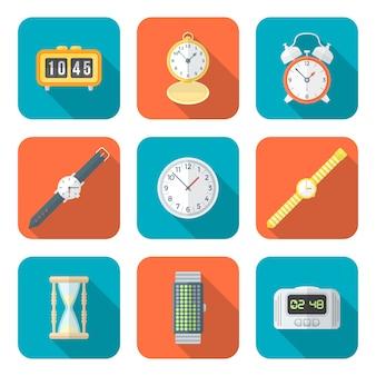 Gekleurde vlakke stijl verschillende horloges klokken pictogrammen instellen