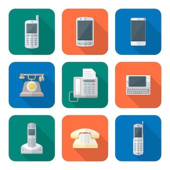 Gekleurde vlakke stijl verschillende telefoon apparaten pictogrammen instellen