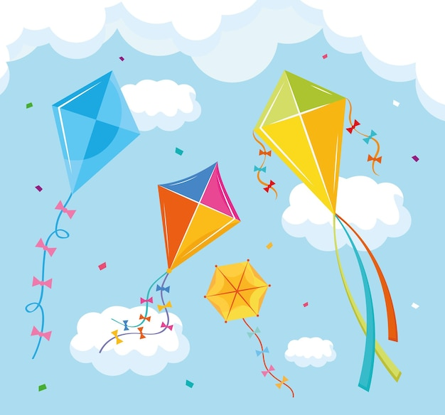 Gekleurde vliegers vliegen