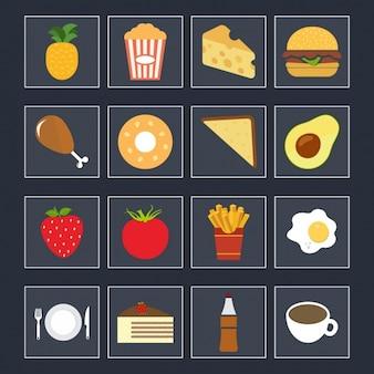Gekleurde voedsel iconen collectie