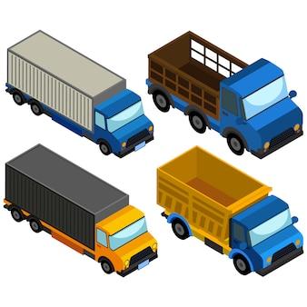 Gekleurde vrachtwagens collectie