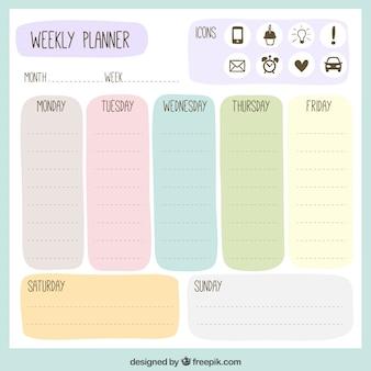 Gekleurde wekelijkse planner