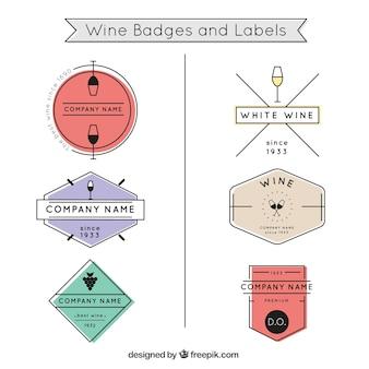 Gekleurde wijn badges en labels
