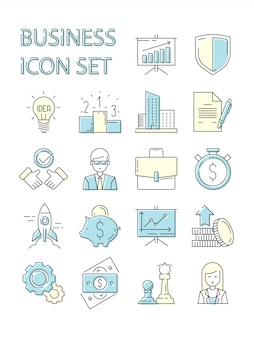 Gekleurde zakelijke pictogram. responsieve symbolen instellen gegevens perfectie spreker financiën strategie opstarten medewerkers overzicht