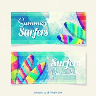 Gekleurde zomer banners
