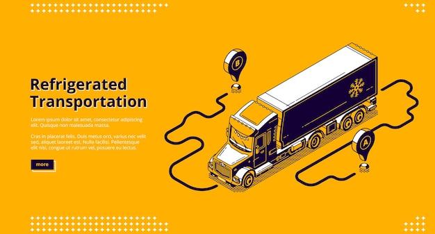 Gekoelde transportbanner. vrachtwagen met koelcontainer voor het bezorgen en verschepen van koude goederen en ingevroren goederen