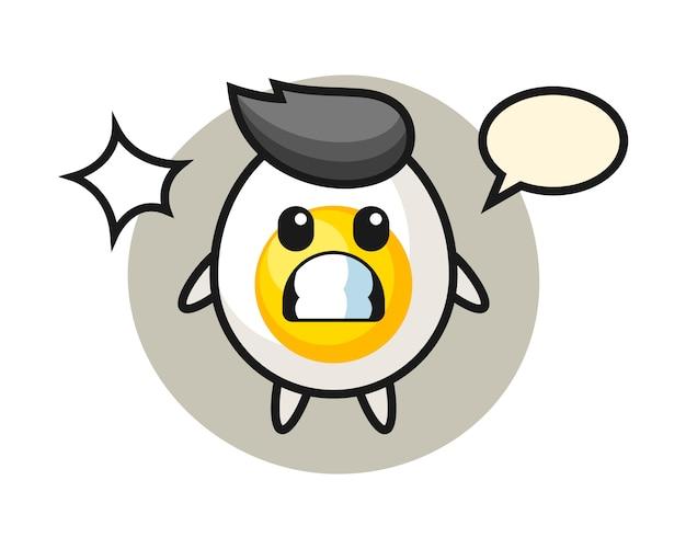 Gekookt ei karakter cartoon met geschokt gebaar