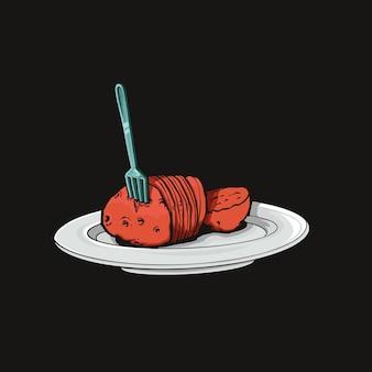 Gekookte aardappel illustratie