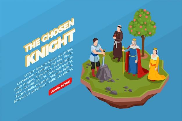 Gekozen ridder met zwaard in steen