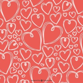 Gekrabbelde valentine harten achtergrond