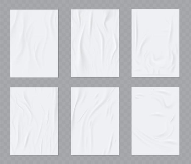 Gekreukeld papier realistische sjabloon set