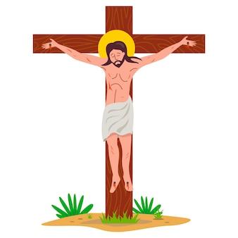 Gekruisigde jezus christus op een houten kruis. platte vectorillustratie.