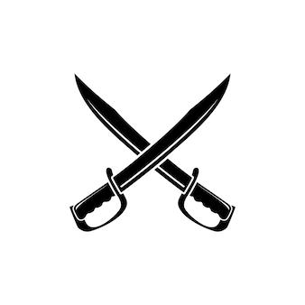 Gekruist zwaard mes machete logo ontwerp inspiratie