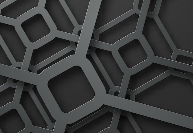 Gekruiste metalen lijnen van diamanten op verschillende hoogten op een zwarte achtergrond.