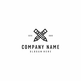 Gekruiste potloden, lineaire stijl pictogram logo illustratie