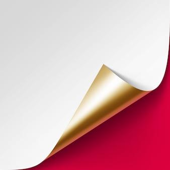 Gekrulde gouden hoek van wit papier met schaduw close-up geïsoleerd op rode achtergrond