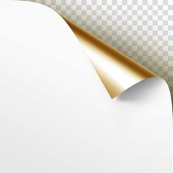 Gekrulde gouden hoek van wit papier met schaduw close-up