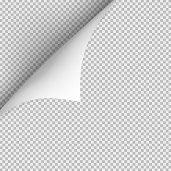 Gekrulde hoek van papier met schaduw op transparante achtergrond.