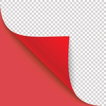 Gekrulde hoek van papier met schaduw