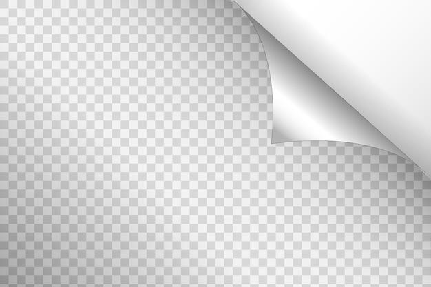 Gekrulde hoek van papier op transparante achtergrond met zachte schaduwen, realistische papieren pagina mock up.
