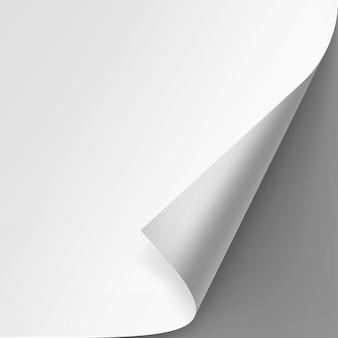 Gekrulde hoek van wit papier op grijze achtergrond