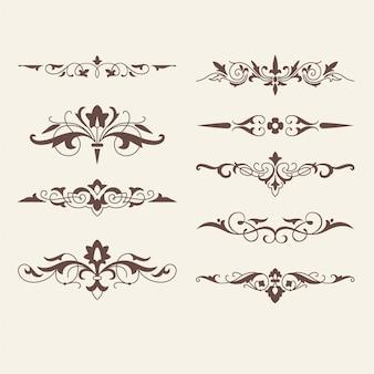 Gekrulde kalligrafische ontwerpelementen