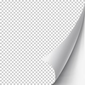 Gekrulde paginahoek met schaduw op transparante realistische illustratie als achtergrond